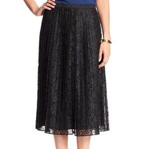 Pleated black lace skirt